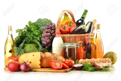 10788257-Groceries-in-wicker-basket-including-vegetables-fruits-bakery-and-dairy-products-and-wine-isolated-o-Stock-Photo